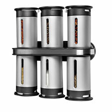 Zevro Zero Gravity Wall-Mount Magnetic Spice Rack 6 Canisters-Turn Sprinkle Pour