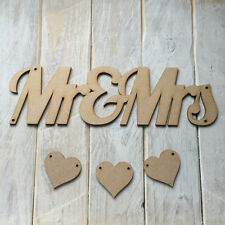 MDF Wood MR & MRS Hanging Plaque Sign Craft Shape Blank MR & MRS with HEARTS