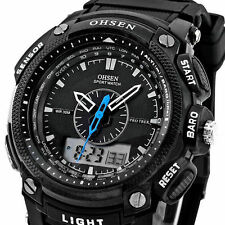 OHSEN Black Waterproof Digital LCD Day Alarm Mens Military Sport Rubber Watch XY