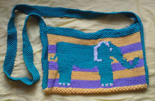 Elephant shoulder bag purple green striped back hand knit wool kids birthday