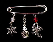 Game of Thrones Inspired Kilt Pin Brooch / Bag Charm - Song of Fire & Ice Theme