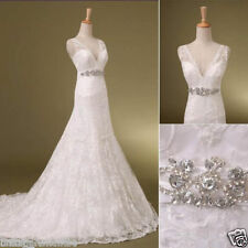 US 6 White V-Neck Lace Wedding Dress A Line Lace Up Long Bridal Gown Stock A5