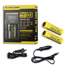 Nitecore Digi Charger D2 w/2x NL189 3400mAh 18650 Batteries +Car & Wall Adaptor