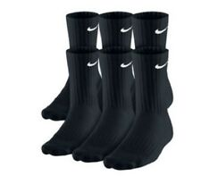 PACK OF 6 PAIRS NIKE MEN'S CUSHIONED CREW SOCKS - BLACK - LARGE (Shoe Size 8-12)