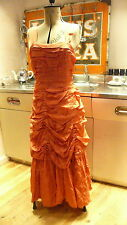 Vintage 1940s s original Dramatic Coral Red Evening Dress  8/10 Good Wood