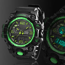 Mens Digital & Analog Sport Quartz Military Watch Chronograph Waterproof Green