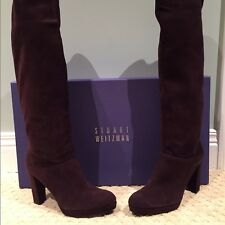 Stuart Weitzman Women's Crushable Timber DK Brown Suede SZ 9 MSRP 695$