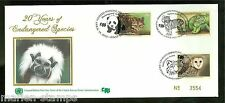 UNITED NATIONS ENDANGERED SPECIES 2012 OFFICIAL SILK TRIPLE CANCEL  FD COVER