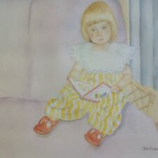 My Red Book, Child Girl Reading Family Painting - Original Watercolour FREE P&P