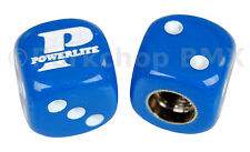 Powerlite old school BMX bicycle tire Schrader valve DICE caps (PAIR) BLUE