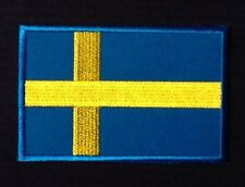 SWEDEN SWEDISH CROSS COUNTRY FLAG BADGE IRON SEW ON PATCH EUROPE