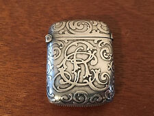 Antique English Sterling Silver Match Safe Scrolling Decoataion Monogram CR 1896