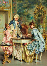 Oil painting Arturo Ricci - The Game of Chess young gentleman with young girls