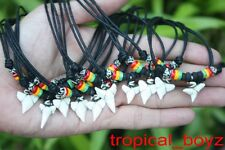 10 Shark Tooth Necklaces Sharks Teeth wth RASTA Wood Bone Beads Wholesale *