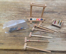 Vintage Doll House Dollhouse Miniature Wood Croquet Game Stand Balls Mallets #6