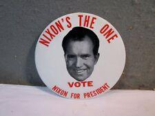 HUGE VINTAGE PRESIDENT NIXON POLITICAL PINBACK BUTTON / BADGE WITH EASEL BACK
