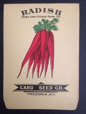 Vintage Antique 1900s CARD SEED CO Radish Early Long Scarlet Pack Limited Supply