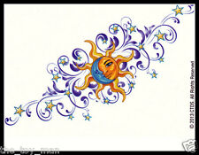 LOWER BACK SHOULDER TEMPORARY TATTOO~CELESTIAL SUN HALF BLUE MOON STAR FOR WOMEN