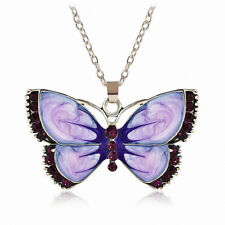 Women Fashion Jewelry Enamel Butterfly Crystal Silver Pendant Chain Necklace HS