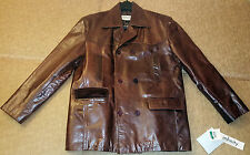New MENs Infinity NY Cognac Crunch Leather Jacket (Size L) Double Breasted