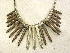 LUCKY BRAND FRONTAL NECKLACE, SPIKES W/ WOOD INLAY, GOLDTONE METAL, NWT $69!