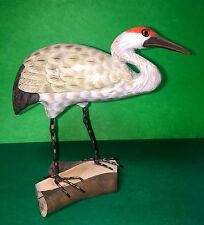 WOODEN BIRD SANDHILL CRANE HAND CARVED AND HAND PAINTED-7""