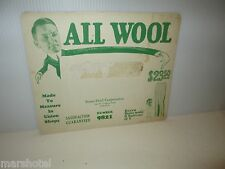 VINTAGE GARMENT INDUSTRY TRADE CARD ALL WOOL STONE-FIELD CORP CHICAGO #9821