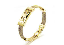 18K Gold GP Vintage Simple Classic Men's Bracelet Gold gb0615760