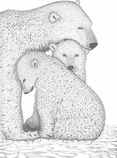 "Wildlife Polar Bears Ltd.Print/Pencil drawing ""9x12"""