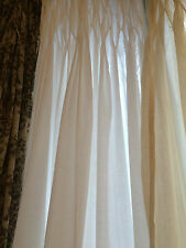 "BEAUTIFUL EX LONG WHITE CURTAIN PANEL 100% COTTON 100"" long /  45"" Wide SMOCKED"