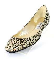 JIMMY CHOO Leopard Print Glitter Patent Leather WITTY Ballet Flats 39.5