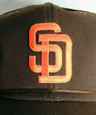 Vintage San Diego Padres Brown Trucker Hat Baseball Cap Hat Embroidered