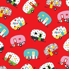 ADORABLE! Camper Fabric By Henry Glass Cotton Colorful Tossed Campers on Red