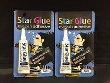 2PCS  STAR GLUE EYELASH ADHESIVE GLUE FOR FAKE EYELASHES DARK  7g 0.1/4oz