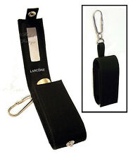 Lancome LIPSTICK CASE / Holder w/Mirror ~ Black Fabric ~ Key Ring Fob