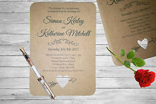 Personalised Handmade Wedding Invitation Invite x50 Vintage Kraft Brown Rustic 9