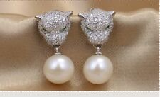 "MP""natural white AAA+ 9-10MM round pearl dangel earring (leopard style)"