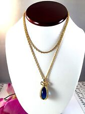 JOAN RIVER GOLD-TONE CHAIN NECKLACE SAPPHIRE BLUE GLASS EGG SHAPED BOW PENDANT