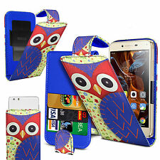 For Sharp SH530U -  (Owl) Clip On PU Leather Flip Case Cover