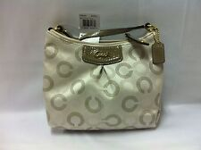 NWT Coach Ashley Dotted Op Art Swingpack Brass/Light Khaki/Taupe F48048