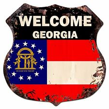 BP-0047 WELCOME GEORGIA State Flag Shield Rustic Chic Sign Bar Shop Home Decor