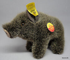 Steiff Wulle Wild Boar Woven Fur Plush 10cm 4in ID Button Tags 1978 -90 Vintage