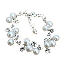 Pearl and Rhinestone Bridal Bracelet, Fashion Jewelry w/Swarovski Pearl