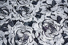 Black & White  Floral Chiffon  Fabric Apparel  Fashion Fabric  BFab Chiffon