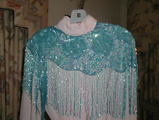 GLITTERING TURQUOISE BLUE SEQUIN SHAWL WRAP PRETTY GIFT PROM FORMAL WEDDING NEW