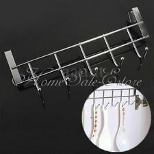 Stainless Steel Over The Door Home Bathroom Coat Towel Hanger Rack 5 Hooks