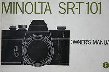Minolta SRT 101 camera  Instruction Manual Booklet in English
