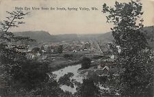 C2/ Spring Valley Wisconsin Wi Postcard 1911 Birdseye View from South