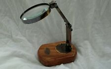 BRASS ADJUSTABLE  MAGNIFYING GLASS ON STAND~QUALITY ITEM. 7.5cm Lens.