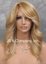 Feather Side Human Hair Blend Back Straight Wig w. Bangs Blonde mix yna 24-61